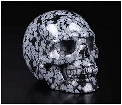 Skullis 2.0' Snowflake Obsidian Crystal Skull, Hand Carved Gemstone Fine Art Sculpture, Reiki Healing Stone Statue.