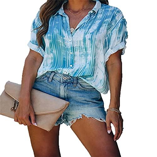 PRJN Camisa con Botones a Rayas para Mujer Camisa de Gasa con Cuello en V Túnica Superior Camisa Informal a Rayas con Cuello en V Camisa con Botones para Mujer Camisa con Botones de Manga Corta