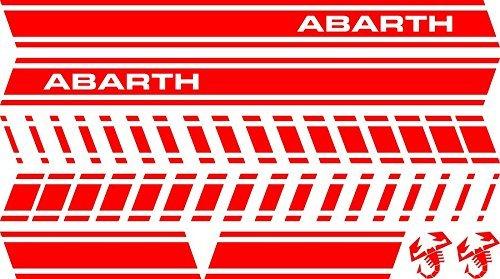 mural stickers Juego de 2 Adhesivos para Pared, diseño de Rayas Deportivas, Adhesivo Lateral para 500 Turbo Abarth Tuning, Color Negro Abarth Kit Rojo