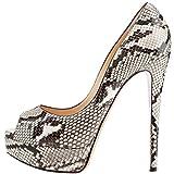 ELASHE - Zapatos para Mujer - Tacón de Aguja -15CM Peep Toe - 3CM Plataforma Tacones Mujer Fiestas Oficina Python EU37