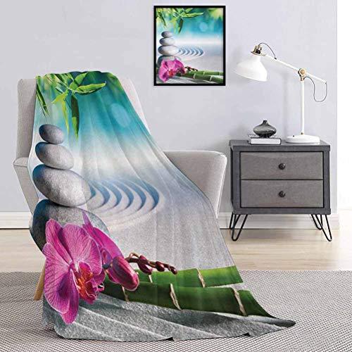 Toopeek Spa Couverture de qualité spéciale orchidée de sable et pierres de massage dans le jardin zen ensoleillé Méditation multi-usages pour canapés, etc. 70 x 84 cm Bleu fougère vert fuchsia