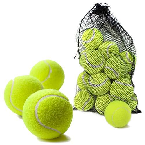 Bramble 15er Pack Harte Tennisbälle in Gelb-Grün – perfekte Tennis Bälle & Trainingsbälle zum Spielen für Kinder, Erwachsene und zum Sport-Training – Tennis Ball Set mit Transport-Tasche