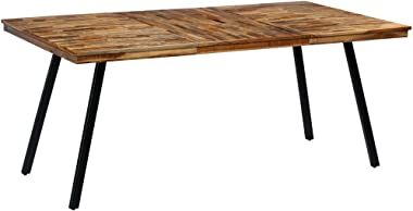 vidaXL Dining Table Reclaimed Teak and Steel Dinner Room Table Writing Table Desk Home Furniture 180x90x76cm
