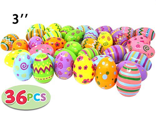 For Sale! Joyin Toy 36 PCs Jumbo Plastic Printed Bright Easter Eggs, Over 3'' tall for Easter Hunt, ...