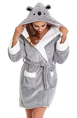TIMSOPHIA - Bata suave con capucha para mujer, de forro polar y con diseño de koala (S, gris)