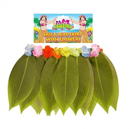 Hawaiian Hula Girl Fancy Dress Party Costume Grass Skirt Flower Lei Garland Bra (One Size, Leaf Hula Skirt With Flowers)