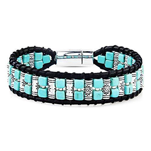 MHOOOA 18,5 cm Perlen Türkis Leder Wickelarmbänder indianischen Stil Männer Frauen Magnetverschluss Bettelarmband