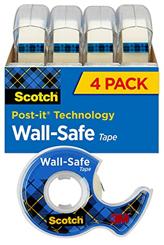 Scotch Wall-Safe Tape, 2 Dispensered Rolls, Sticks Securely, Removes Cleanly, Invisible, Designed for Displaying, Photo Safe, 3/4 in x 650 in (4183)