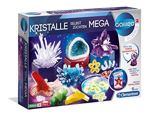 Clementoni 59130 Galileo Science – Kristalle selbst züchten Mega, Experimentierkasten für Kinder ab 8 Jahren, farbenfrohe Experimente fürs Kinderzimmer