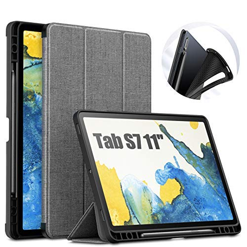 INFILAND Hülle für Samsung Galaxy Tab S7 11 (T870/T875) 2020, TPU Schutzhülle Hülle Taseche mit S Pen Halter, Auto Schlaf/Wach, Grau