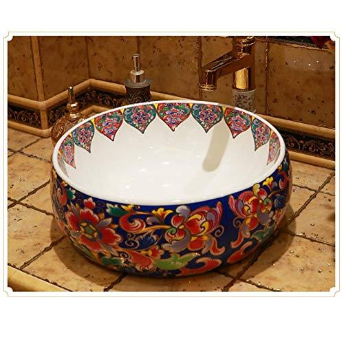 Ykxykw Modern opzetwastafel keramiek badkamer wastafel wasbak kom porselein retro wasbak rond