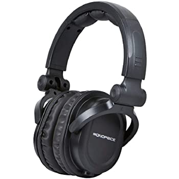 Monoprice Premium Hi-Fi Dj Style Over-The-Ear Pro Headphones with a Single-Button Inline Microphone/Controller, Black