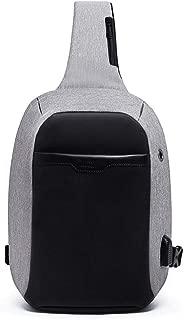 Men's Casual Waterproof Chest Bag, Blue Fashion Shoulder Bag, Anti-Theft Slung Shoulder Bag,Gray