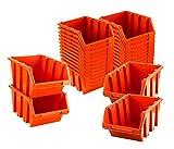 BigDean Sichtlagerboxen Set 28 Stück Orange Größe 3 19,5x12x9 cm - nestbar & stapelbar - Ordnungssystem für Werkstatt, Keller & Garage