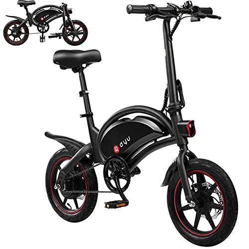 DYU Vélos électriques Pliant - Vitesse Réglable Urban Bike, 14' 250W Motor 36V 10Ah Amovible au Lithium Batterie, Bike pédalant assisté pour Adulte Unisexe (D3F)
