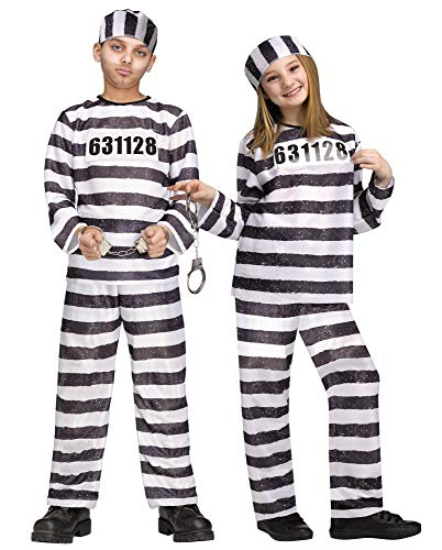 Fun World Unisex Convict Costume, Multicolor, Large 12-14