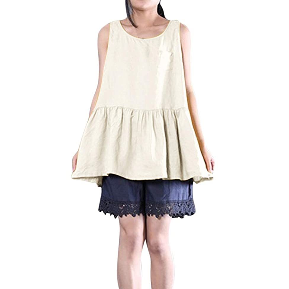 Women Sleeveless Ruffled Vest Top Summer O-Neck Cotton Linen Tank Tops Casual Pure Color Blouse