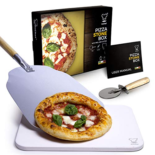 BeChef® - Pizza Stone Set for Oven and BBQ – Professional Cordierite Baking Stone with Peel and Wheel Cutter - Italian Homemade Pizza Baking Set with Elegant Gift Box