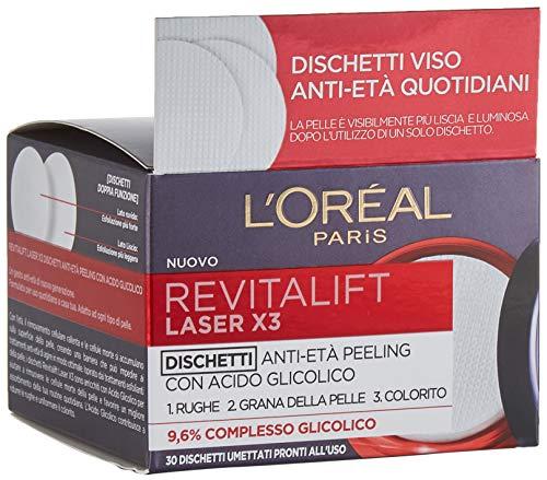 L'Oréal Paris Trattamenti Revitalift Laser X3 Dischetti Viso Anti-Età Antirughe Peeling con Acido Glicolico, EsfoliAnti e IlluminAnti