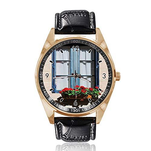 Fensterläden Custom Design Armbanduhr Analog Quarz Gold Zifferblatt Klassische Lederband Damen Herren Armbanduhr