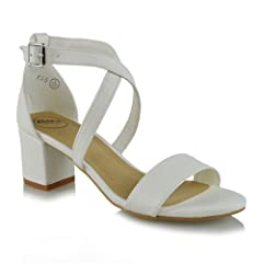 7f624a71fe5a4 Essex Glam Womens Strappy Block Heel White Synthetic Leather Ankle ...