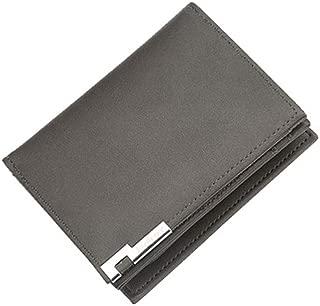 Mens Leather Bag Wallet Men's Leather Multi-Function Zipper Coin Purse Tri-Fold Wallet Card Holder Buckle Wallet Zipper Wallet Bag (Color : Gray, Size : S)