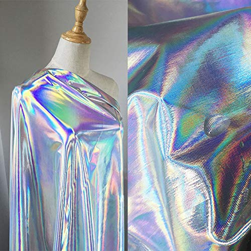Wento Silver Holographic Fabric for Stage Costumes Dancewear,Shiny Elastic Fabric for Leotard Clothings Wedding/Evening Dress or Other Garments.Wide 54'' Sold by Yard (Silver Elastic Fabric)