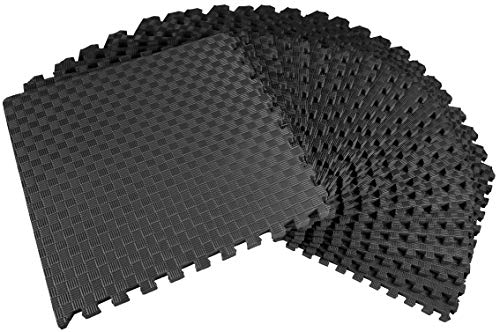 BalanceFrom 1 Inch Extra Thick Puzzle Exercise Mat with EVA Foam Interlocking Tiles for MMA, Exercise, Gymnastics and Home Gym Protective Flooring, 72 Square Feet (Black)