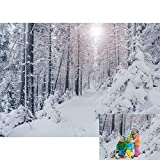 Allenjoy Winter Forest Landscape Backdrop Christmas Wonderland Snowflake Outdoor Snow Scene Pine Tree Frozen Wall Decor Kids Newborn Family Photo Booth Props Baby Shower 7x5ft Photography Background