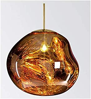 CLFINE Tom Dixon PVC Pendant Lamp, Lava Melt Crystal Ceiling Light Postmodern Hanging Lamping (Gold)