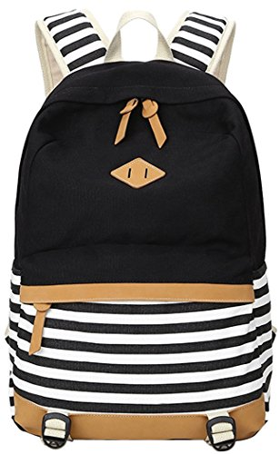5 ALL Fashion Mädchen Schulrucksack Damen Canvas Rucksack Teenager Baumwollstoff Streifen Schultasche Daypacks für Universität Outdoor Freizeit QXT-8810 (Schwarz)
