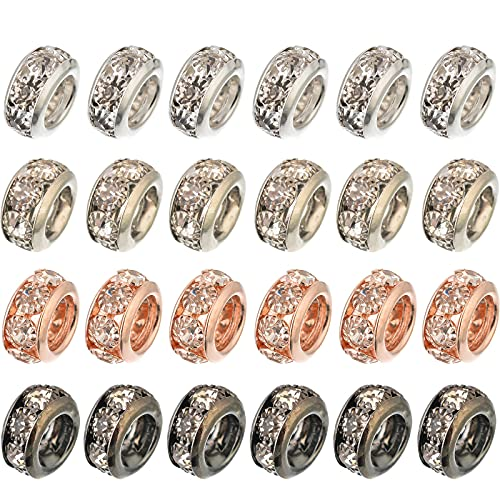 Souarts Mixed Random European Spacer Beads with Clear Rhinestone Bright...