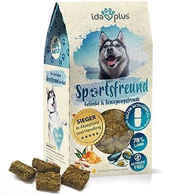 Ida Plus Sportsfreund - für Starke Hunde Gelenke - Grünlippmuschel & Kurkuma unterstützt Gelenke, Gelenkfunktion & Beweglichkeit - Vitalfood als Hundesnack getreidefrei & mit Lamm - bis zu 30 Tage