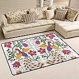 Jstel Teppich, waschbar, weich, mexikanischer Pfau und Blumen, 90 x 60 cm, Polyester, multi, 180 x 120 cm