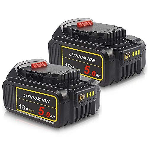 2PACK-QUPER DCB184 18V 5.0Ah MAX XR Batteria sostitutiva compatibile con Dewalt DCS355N-XJ, DCW210N-XJ, DCM563PB-XJ, DCG405N, DCD796N, DCW210N-XJ, DCS571N, DCS335N, DCV517, DCG412N.