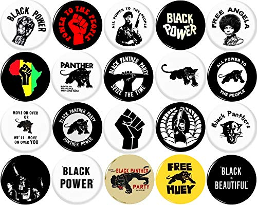 Black Panther Party 20 NEW 1 Inch (25mm) Set of 20 BLACK LIVES MATTER Buttons Badges Pins 1' BLM