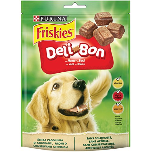 Purina Friskies DeliBon Snack Cane Deliziosi Bocconcini con Manzo, 6 Confezioni da 130 g Ciascuna