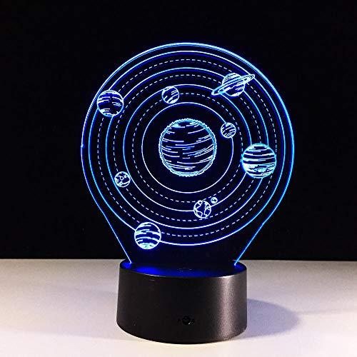 3D-Illusionslampe Led-Nachtlicht Das Sonnensystem Planet Modell 7 Farbwechselnde Leuchten Berühren Sie Die Entfernte Tischlampe Mood Home Decoration