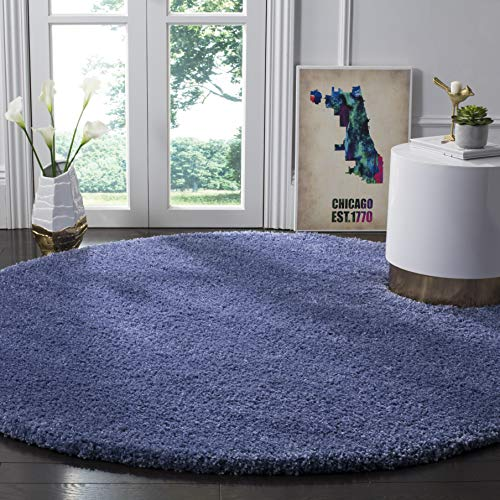 SAFAVIEH California Premium Shag Collection SG151 Non-Shedding Living Room Bedroom Dining Room Entryway Plush 2-inch Thick Area Rug, 6'7' x 6'7' Round, Periwinkle