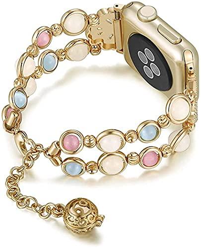 YYCHER Correa de metal para reloj Apple Watch 6, 5, 40/44 mm, joyería de mujer, para iWatch Series 4, 3, 2, 38/42 mm (color de la correa: dorado, ancho de la correa: 38 mm o 40 mm)