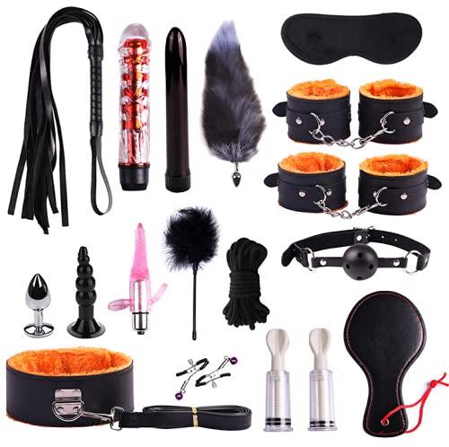 Nuevo 17PCS Set Haňdcuffs, Shḁcklès, NīppÎê Clips, Whips Adult Leather Ḅóňdǎgê Ṧêx Töy Set for Couples Play