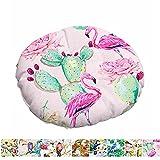 Morbuy Stuhlkissen Runde Sitzkissen Blumen Vogelserie Atmungsaktiv Baumwolle Leinen Tatami Komfortable Stühle Bodenkissen Sitzauflagen für Outdoor Garten Office Sessel (40x40cm,Flamingo)