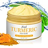 Turmeric Vitamin C Clay Mask,Organic Turmeric Face Mud Mask with Aloe Vera Honey Extract Clay for Radiant Skin,Deep Cleansing Blackheads, Acne, Oil Control and Refining Pores (4 oz)