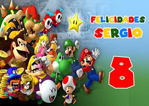 OBLEA de Mario Bros Personalizada con Nombre y Edad para Pastel o Tarta, Especial para cumpleaños, Medida Rectangular de 28x20cm