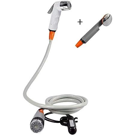 Qbuds Bidet pulverizador de agua portátil recargable con batería recargable para camping, senderismo, viajes, (dos cabezales de ducha reemplazables)