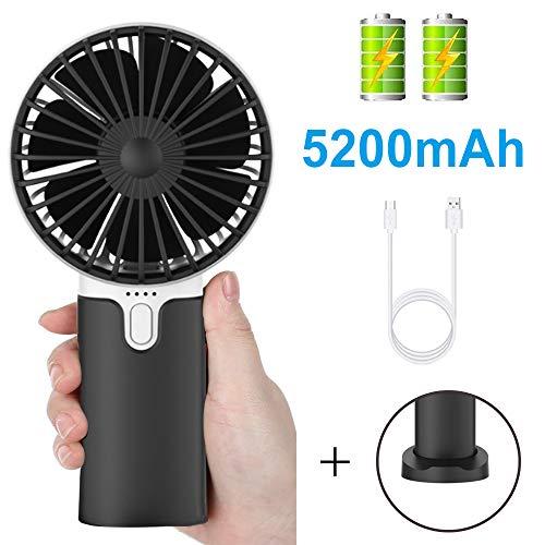 EasyULT Mini Ventilador de Mano USB, con 5200mAh Batería, Recargable USB Ventilador Portátil, 3 Velocidades Ajustable y Base Escritorio para al Hogar, Oficina, Viajes, Picnic-Negro