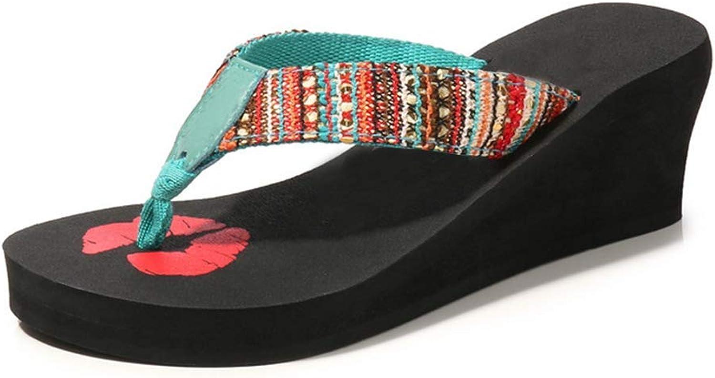 Women's Flip Flops Platform Wedge Summer Non-Slip Fashion Waterproof Outdoor Beach Sandals