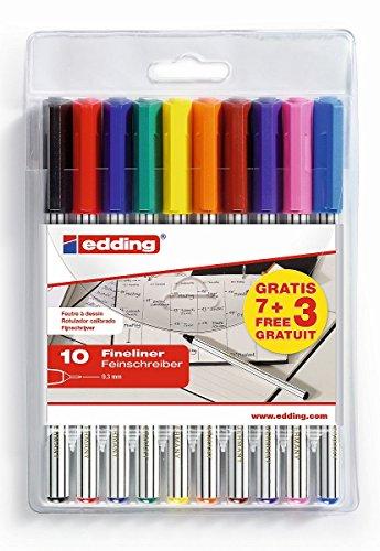 edding 89 Office Fine-Liner - 7+3 GRATIS: 10er Set - Strichbreite 0,3 mm - Zum präzisen Schreiben und Malen in Schule, Büro, Homeoffice