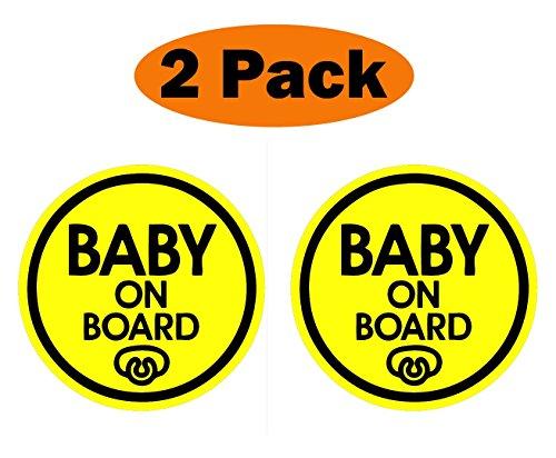 TOTOMO # ALI-031 (Juego de 2) Etiqueta engomada del imán del bebé a Bordo Señal de precaución de Seguridad para el Parachoques del Coche - Baby Pacifier