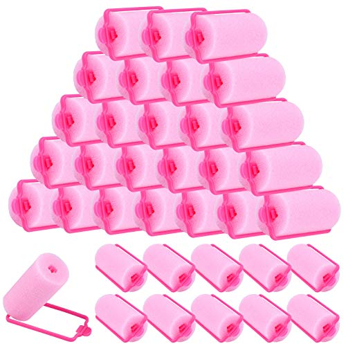 Elcoho 36 Pieces Foam Sponge Hair Rollers 30 mm Mini Foam Hair Styling Curlers Soft Sleeping Hair Curlers for Women and Kids Flexible Hairdressing Curlers with Storage Bag (Pink)